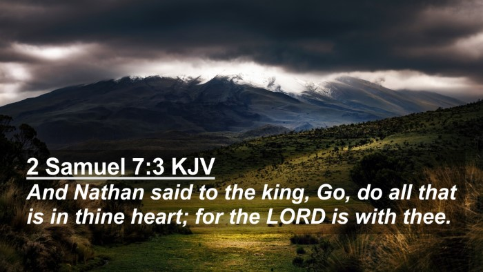 Picture 02 - 2 Samuel 7:3 KJV 4K Wallpaper - And Nathan said to the king, Go, do all that is - 4K Wallpaper Bible Verse