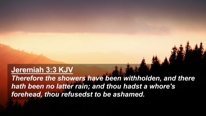Picture 02 - Jeremiah 3:3 KJV 4K Wallpaper - Therefore the showers have been withholden, and - 4K Wallpaper Bible Verse