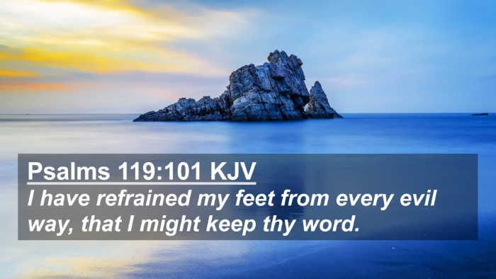 Picture 02 - Psalms 119:101 KJV 4K Wallpaper - I have refrained my feet from every evil way, - 4K Wallpaper Bible Verse