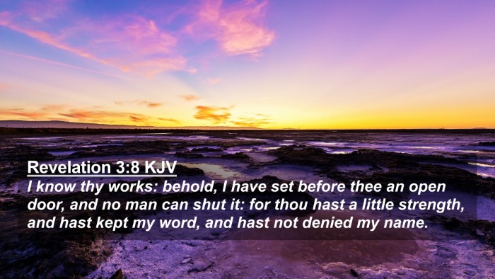 Picture 02 - Revelation 3:8 KJV 4K Wallpaper - I know thy works: behold, I have set before thee - 4K Wallpaper Bible Verse