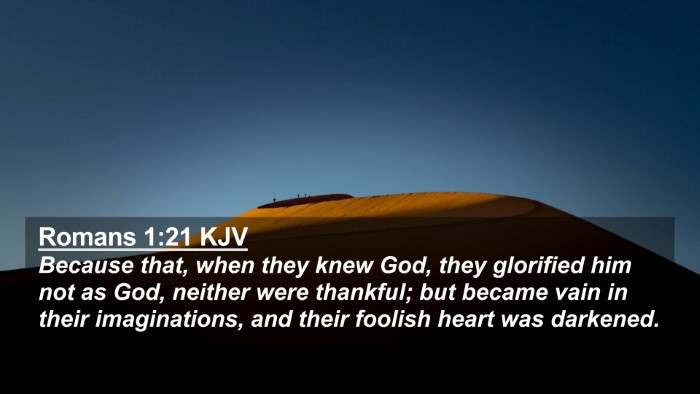 Picture 02 - Romans 1:21 KJV 4K Wallpaper - Because that, when they knew God, they glorified - 4K Wallpaper Bible Verse