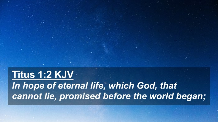 Picture 02 - Titus 1:2 KJV 4K Wallpaper - In hope of eternal life, which God, that cannot - 4K Wallpaper Bible Verse
