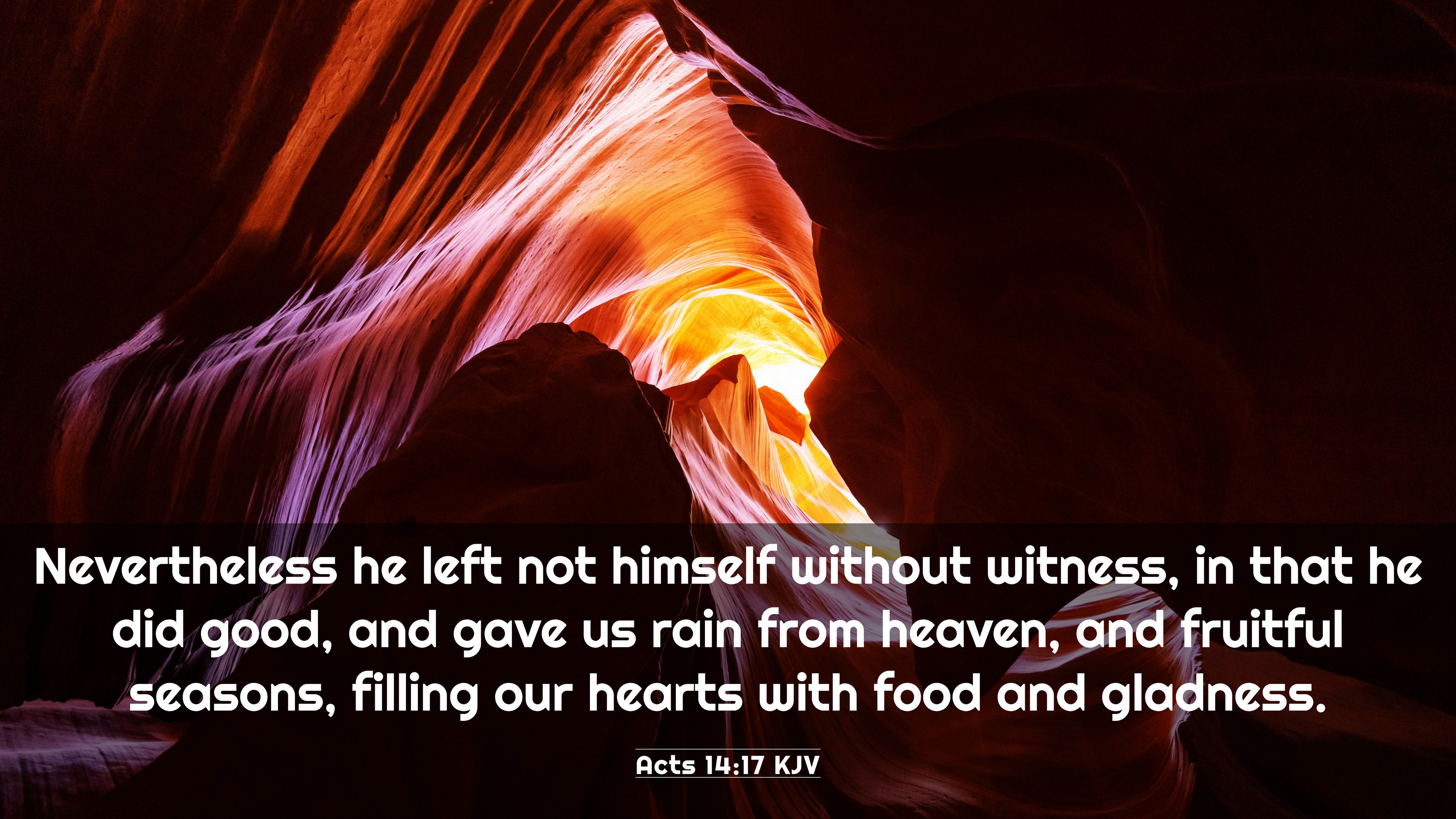 Acts 14:17 KJV 4K Wallpaper - Nevertheless he left not himself without  witness,