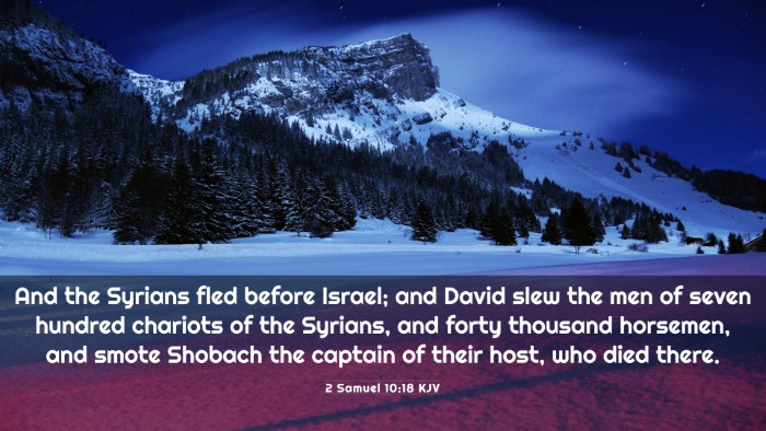 Picture 03 - 2 Samuel 10:18 KJV 4K Wallpaper - And the Syrians fled before Israel; and David - 4K Wallpaper Bible Verse