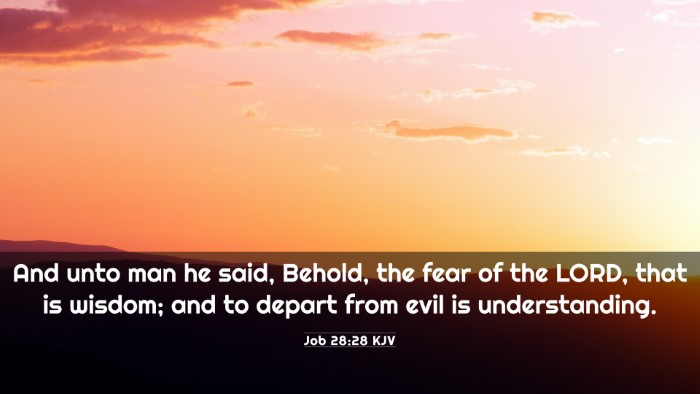Picture 03 - Job 28:28 KJV 4K Wallpaper - And unto man he said, Behold, the fear of the - 4K Wallpaper Bible Verse