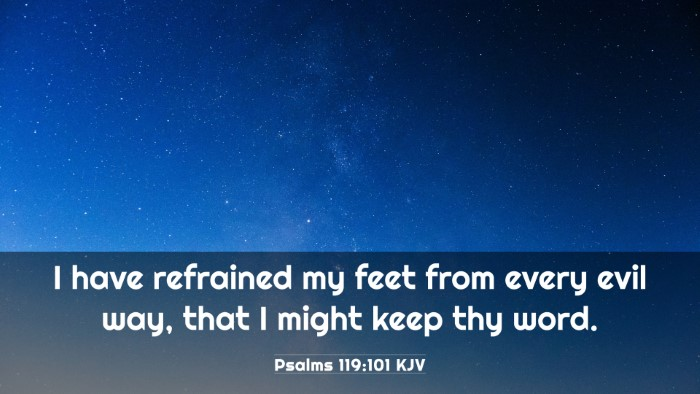 Picture 03 - Psalms 119:101 KJV 4K Wallpaper - I have refrained my feet from every evil way, - 4K Wallpaper Bible Verse