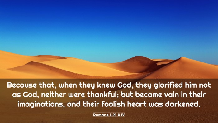 Picture 03 - Romans 1:21 KJV 4K Wallpaper - Because that, when they knew God, they glorified - 4K Wallpaper Bible Verse