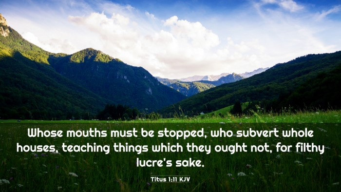 Picture 03 - Titus 1:11 KJV 4K Wallpaper - Whose mouths must be stopped, who subvert whole - 4K Wallpaper Bible Verse