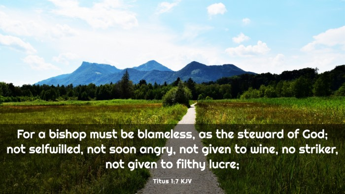 Picture 03 - Titus 1:7 KJV 4K Wallpaper - For a bishop must be blameless, as the steward of - 4K Wallpaper Bible Verse