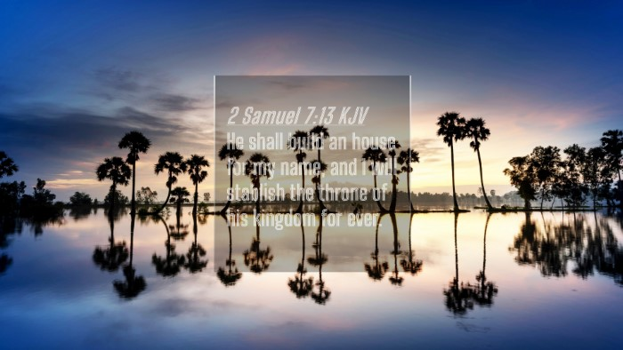Picture 04 - 2 Samuel 7:13 KJV 4K Wallpaper - He shall build an house for my name, and I will - 4K Wallpaper Bible Verse