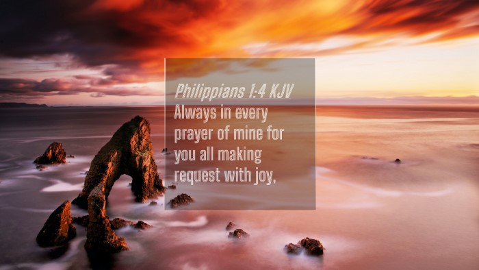 Picture 04 - Philippians 1:4 KJV 4K Wallpaper - Always in every prayer of mine for you all making - 4K Wallpaper Bible Verse