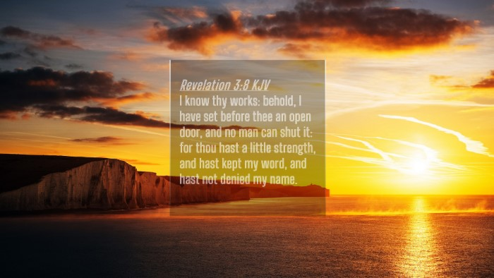 Picture 04 - Revelation 3:8 KJV 4K Wallpaper - I know thy works: behold, I have set before thee - 4K Wallpaper Bible Verse