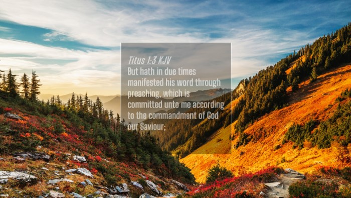 Picture 04 - Titus 1:3 KJV 4K Wallpaper - But hath in due times manifested his word through - 4K Wallpaper Bible Verse