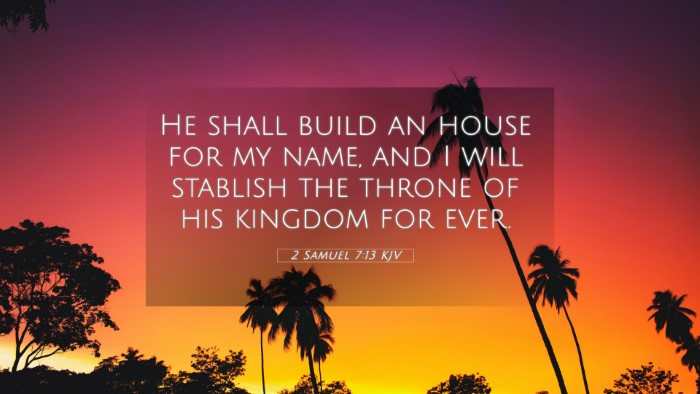 Picture 05 - 2 Samuel 7:13 KJV 4K Wallpaper - He shall build an house for my name, and I will - 4K Wallpaper Bible Verse