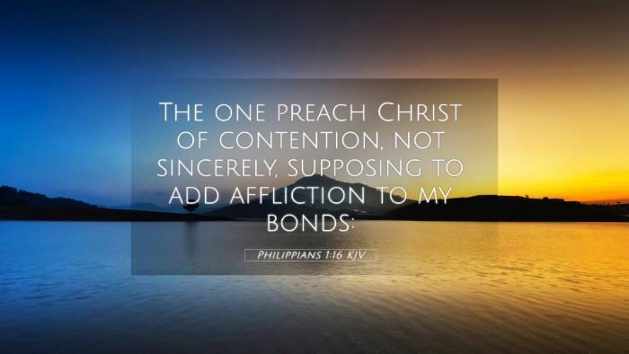 Picture 05 - Philippians 1:16 KJV 4K Wallpaper - The one preach Christ of contention, not - 4K Wallpaper Bible Verse