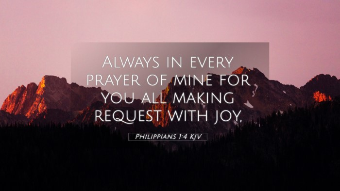 Picture 05 - Philippians 1:4 KJV 4K Wallpaper - Always in every prayer of mine for you all making - 4K Wallpaper Bible Verse
