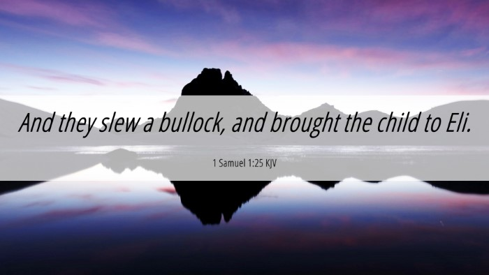 Picture 06 - 1 Samuel 1:25 KJV 4K Wallpaper - And they slew a bullock, and brought the child to - 4K Wallpaper Bible Verse