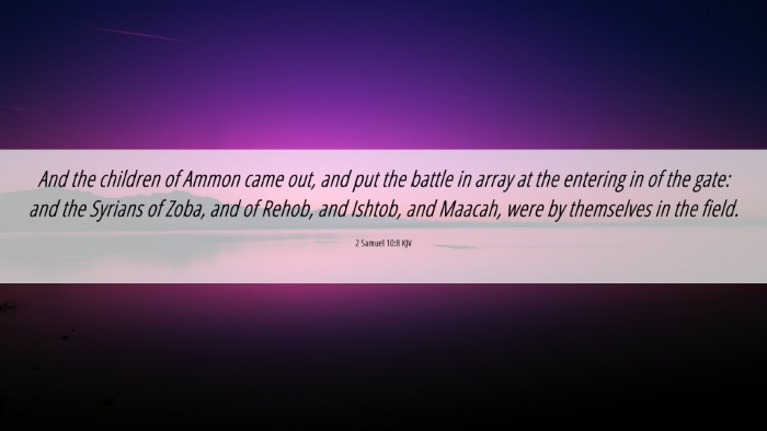Picture 06 - 2 Samuel 10:8 KJV 4K Wallpaper - And the children of Ammon came out, and put the - 4K Wallpaper Bible Verse