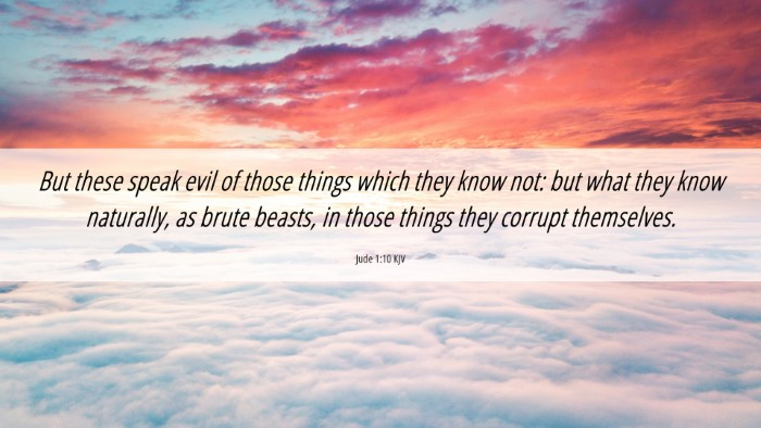 Picture 06 - Jude 1:10 KJV 4K Wallpaper - But these speak evil of those things which they - 4K Wallpaper Bible Verse