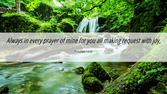 Picture 06 - Philippians 1:4 KJV 4K Wallpaper - Always in every prayer of mine for you all making - 4K Wallpaper Bible Verse