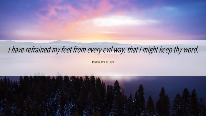 Picture 06 - Psalms 119:101 KJV 4K Wallpaper - I have refrained my feet from every evil way, - 4K Wallpaper Bible Verse