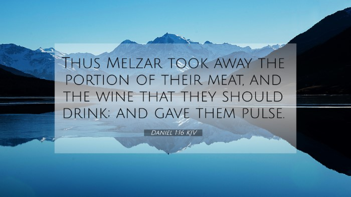 Picture 07 - Daniel 1:16 KJV 4K Wallpaper - Thus Melzar took away the portion of their meat, - 4K Wallpaper Bible Verse