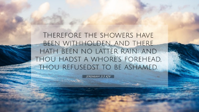 Picture 07 - Jeremiah 3:3 KJV 4K Wallpaper - Therefore the showers have been withholden, and - 4K Wallpaper Bible Verse