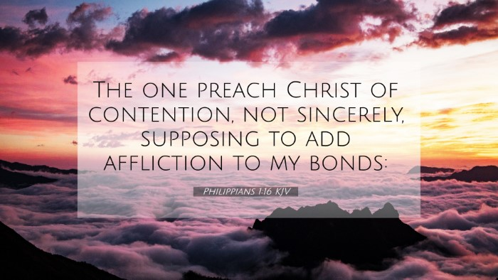 Picture 07 - Philippians 1:16 KJV 4K Wallpaper - The one preach Christ of contention, not - 4K Wallpaper Bible Verse