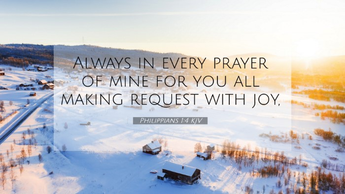 Picture 07 - Philippians 1:4 KJV 4K Wallpaper - Always in every prayer of mine for you all making - 4K Wallpaper Bible Verse