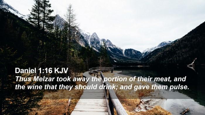 Daniel 1:16 KJV Desktop Wallpaper - Thus Melzar took away the portion of their meat, - Desktop Bible Verse Wallpaper