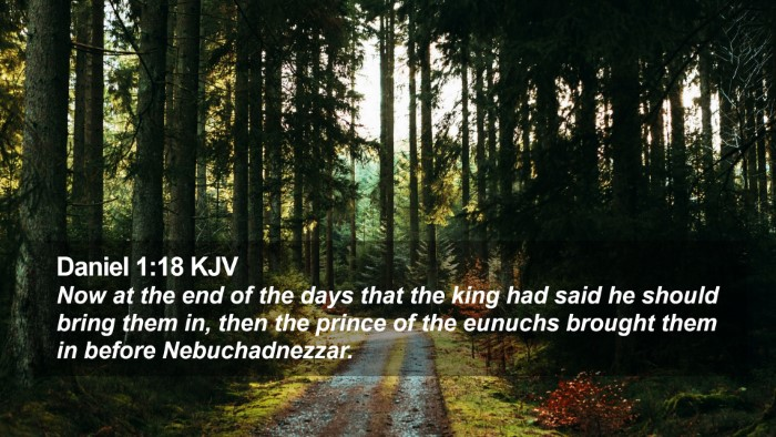 Daniel 1:18 KJV Desktop Wallpaper - Now at the end of the days that the king had said - Desktop Bible Verse Wallpaper