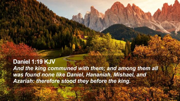 Daniel 1:19 KJV Desktop Wallpaper - And the king communed with them; and among them - Desktop Bible Verse Wallpaper