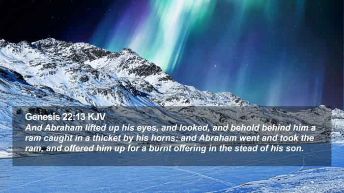 Genesis 22:13 KJV Desktop Wallpaper - And Abraham lifted up his eyes, and looked, and - Desktop Bible Verse Wallpaper