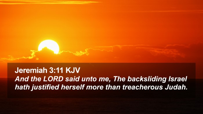 Jeremiah 3:11 KJV Desktop Wallpaper - And the LORD said unto me, The backsliding Israel - Desktop Bible Verse Wallpaper