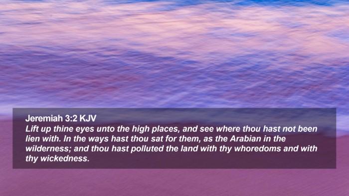 Jeremiah 3:2 KJV Desktop Wallpaper - Lift up thine eyes unto the high places, and see - Desktop Bible Verse Wallpaper