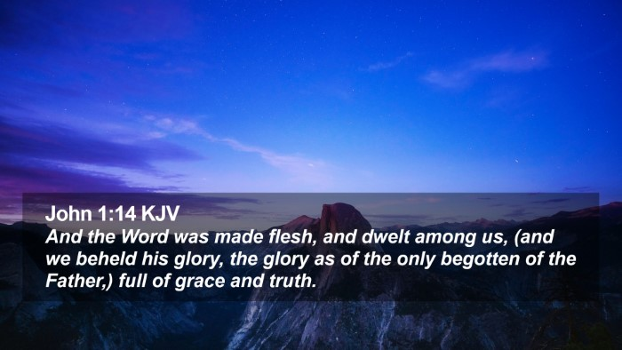 John 1:14 KJV Desktop Wallpaper - And the Word was made flesh, and dwelt among us, - Desktop Bible Verse Wallpaper