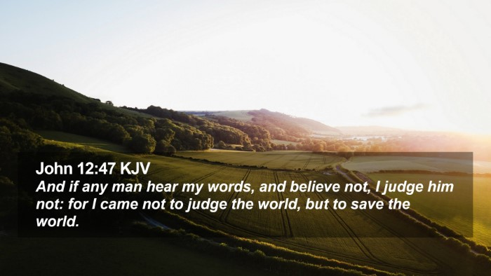 John 12:47 KJV Desktop Wallpaper - And if any man hear my words, and believe not, I - Desktop Bible Verse Wallpaper