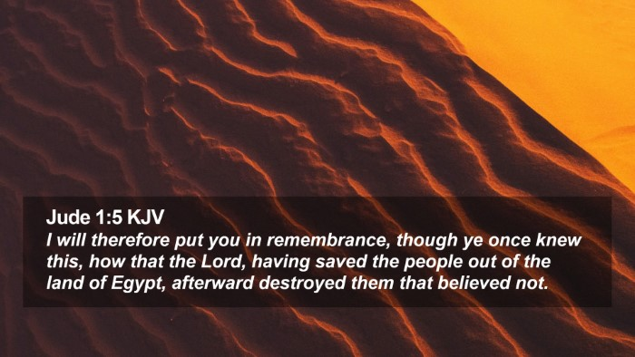 Jude 1:5 KJV Desktop Wallpaper - I will therefore put you in remembrance, though - Desktop Bible Verse Wallpaper