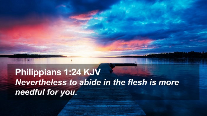 Philippians 1:24 KJV Desktop Wallpaper - Nevertheless to abide in the flesh is more - Desktop Bible Verse Wallpaper