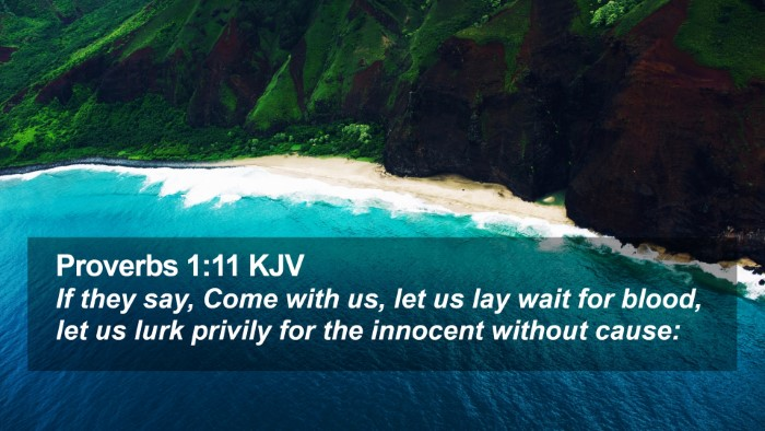 Proverbs 1:11 KJV Desktop Wallpaper - If they say, Come with us, let us lay wait for - Desktop Bible Verse Wallpaper