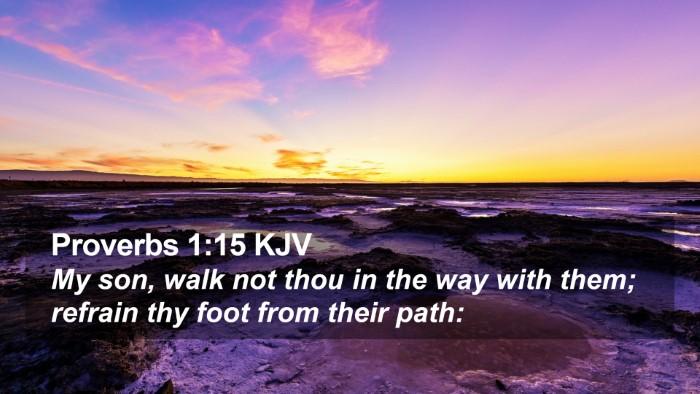 Proverbs 1:15 KJV Desktop Wallpaper - My son, walk not thou in the way with them; - Desktop Bible Verse Wallpaper
