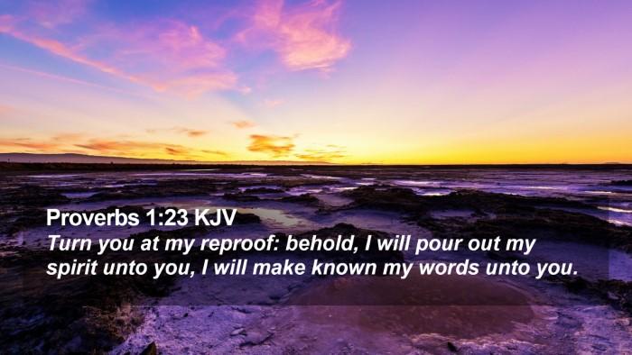 Proverbs 1:23 KJV Desktop Wallpaper - Turn you at my reproof: behold, I will pour out - Desktop Bible Verse Wallpaper