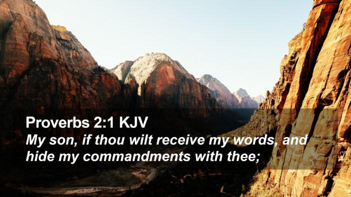 Proverbs 2:1 KJV Desktop Wallpaper - My son, if thou wilt receive my words, and hide - Desktop Bible Verse Wallpaper