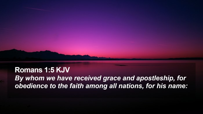 Romans 1:5 KJV Desktop Wallpaper - By whom we have received grace and apostleship, - Desktop Bible Verse Wallpaper
