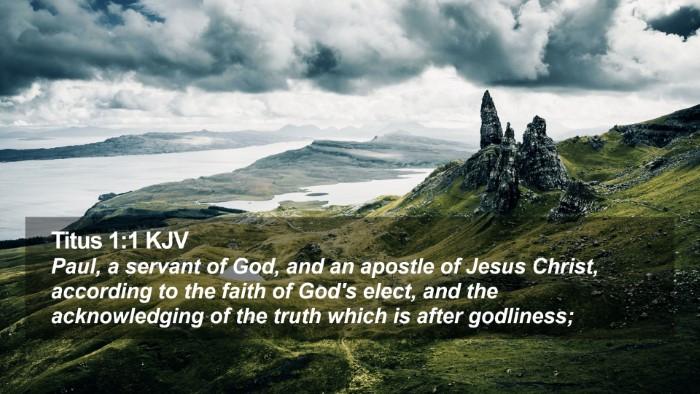 Titus 1:1 KJV Desktop Wallpaper - Paul, a servant of God, and an apostle of Jesus - Desktop Bible Verse Wallpaper