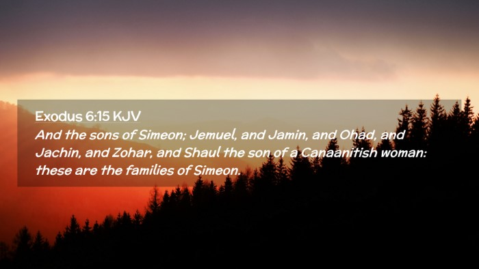 Picture 02 - Exodus 6:15 KJV Desktop Wallpaper - And the sons of Simeon; Jemuel, and Jamin, and - Desktop Bible Verse Wallpaper