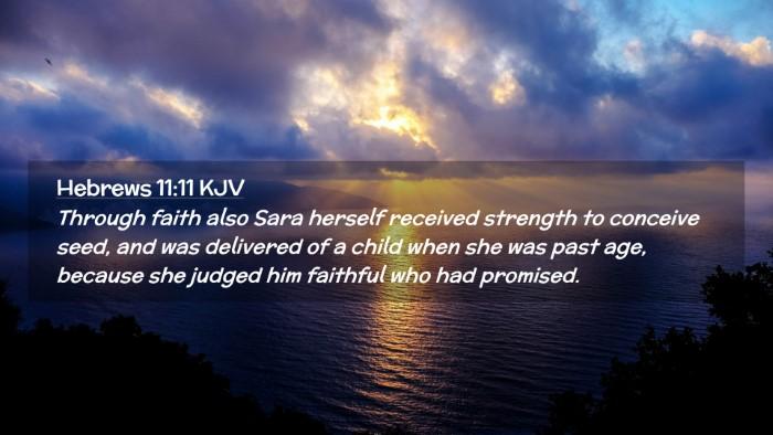Picture 02 - Hebrews 11:11 KJV Desktop Wallpaper - Through faith also Sara herself received strength - Desktop Bible Verse Wallpaper