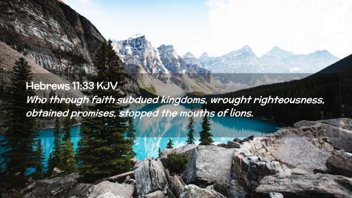 Picture 02 - Hebrews 11:33 KJV Desktop Wallpaper - Who through faith subdued kingdoms, wrought - Desktop Bible Verse Wallpaper