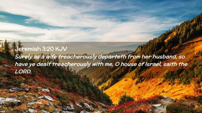 Picture 02 - Jeremiah 3:20 KJV Desktop Wallpaper - Surely as a wife treacherously departeth from her - Desktop Bible Verse Wallpaper