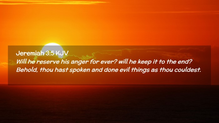 Picture 02 - Jeremiah 3:5 KJV Desktop Wallpaper - Will he reserve his anger for ever? will he keep - Desktop Bible Verse Wallpaper